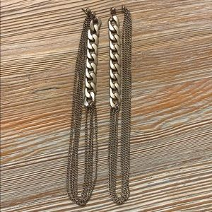 Silver chain trendy earrings